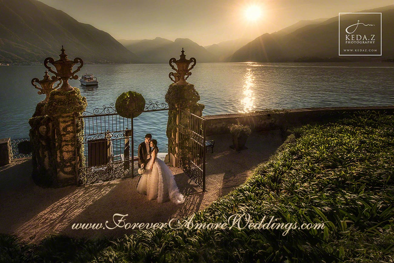 wedding couple in villa balbianello lake como