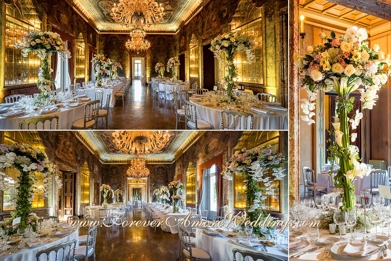 stunning reception decor in villa erba lake como