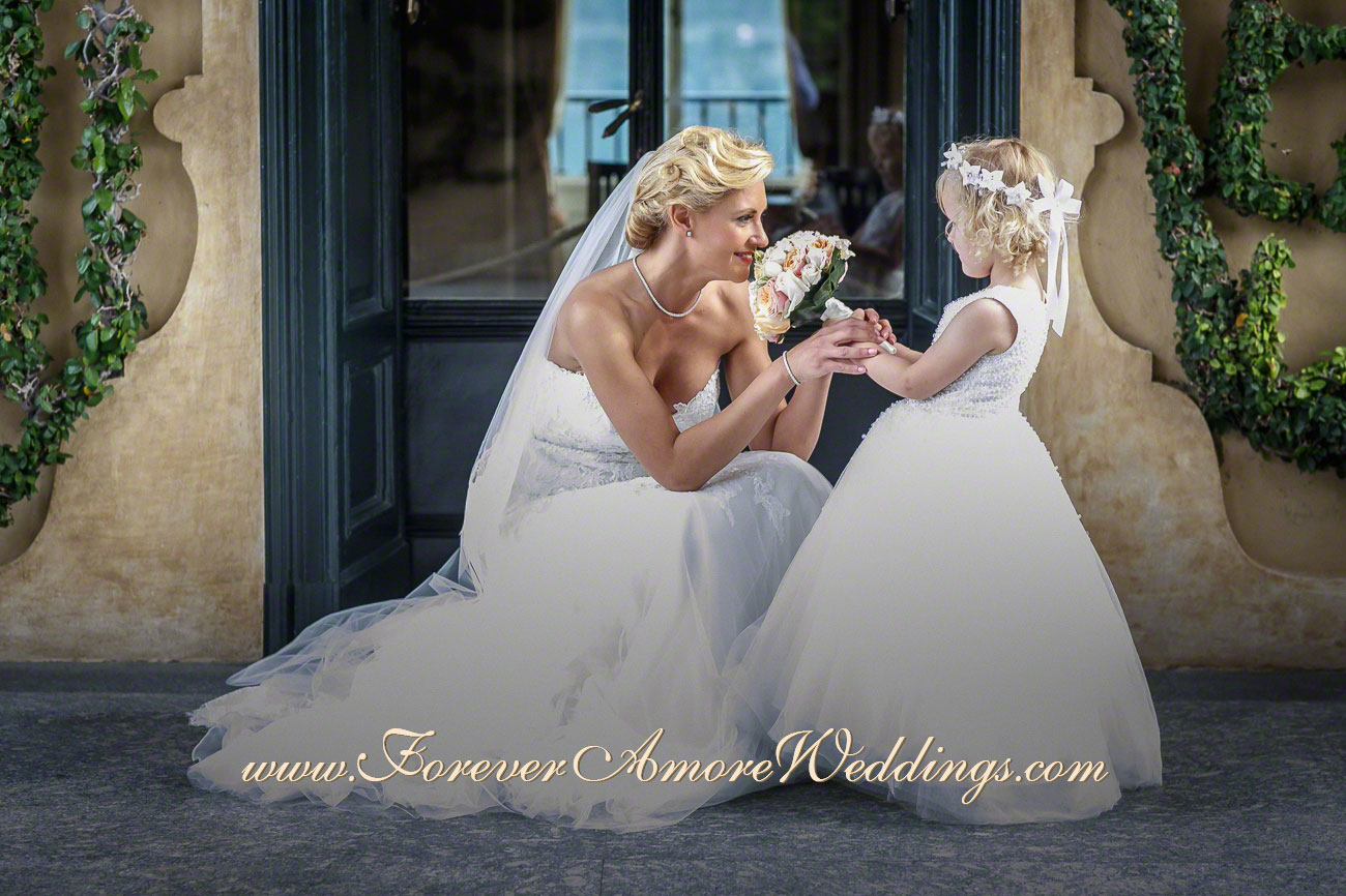 beautiful bride and flower girl villa balbianello