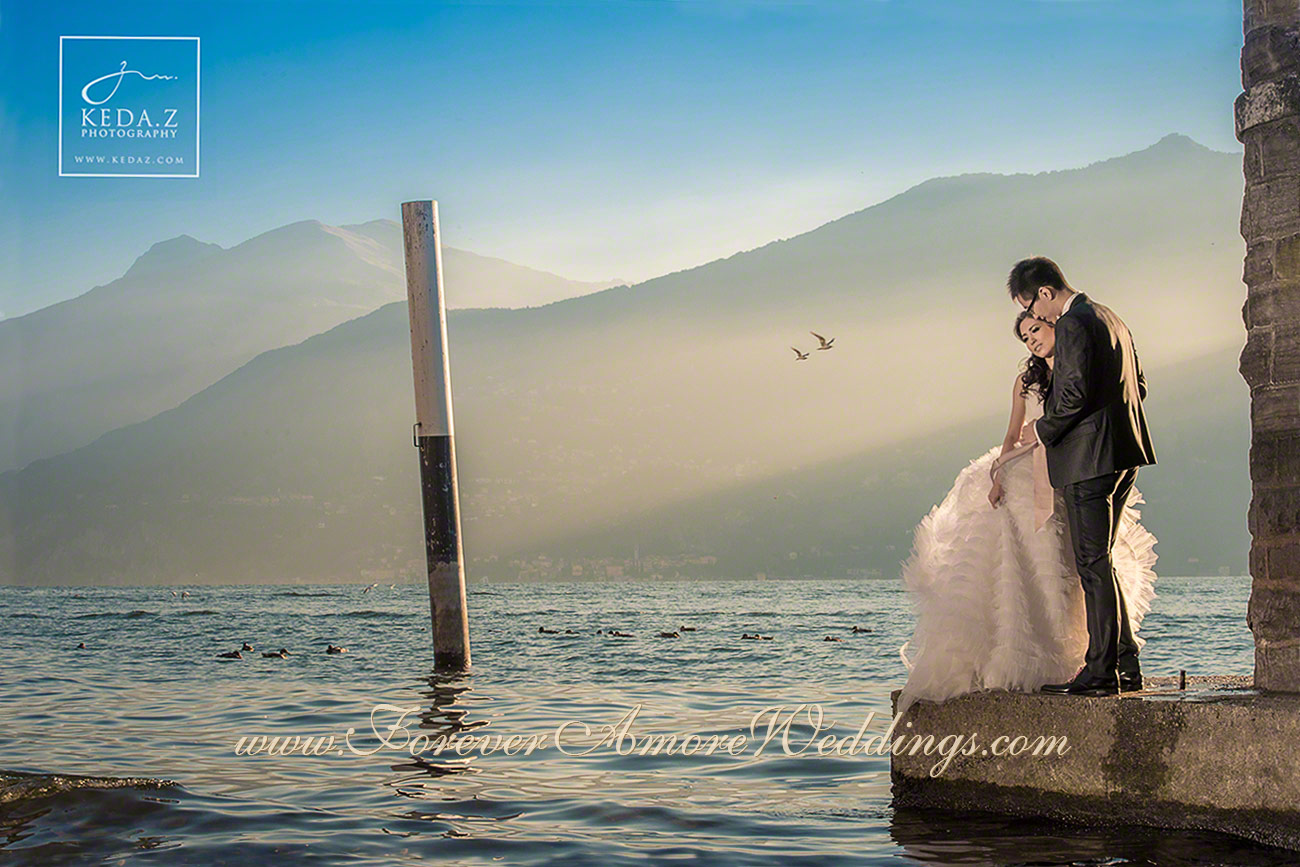 bride and groom lake como tremezzo