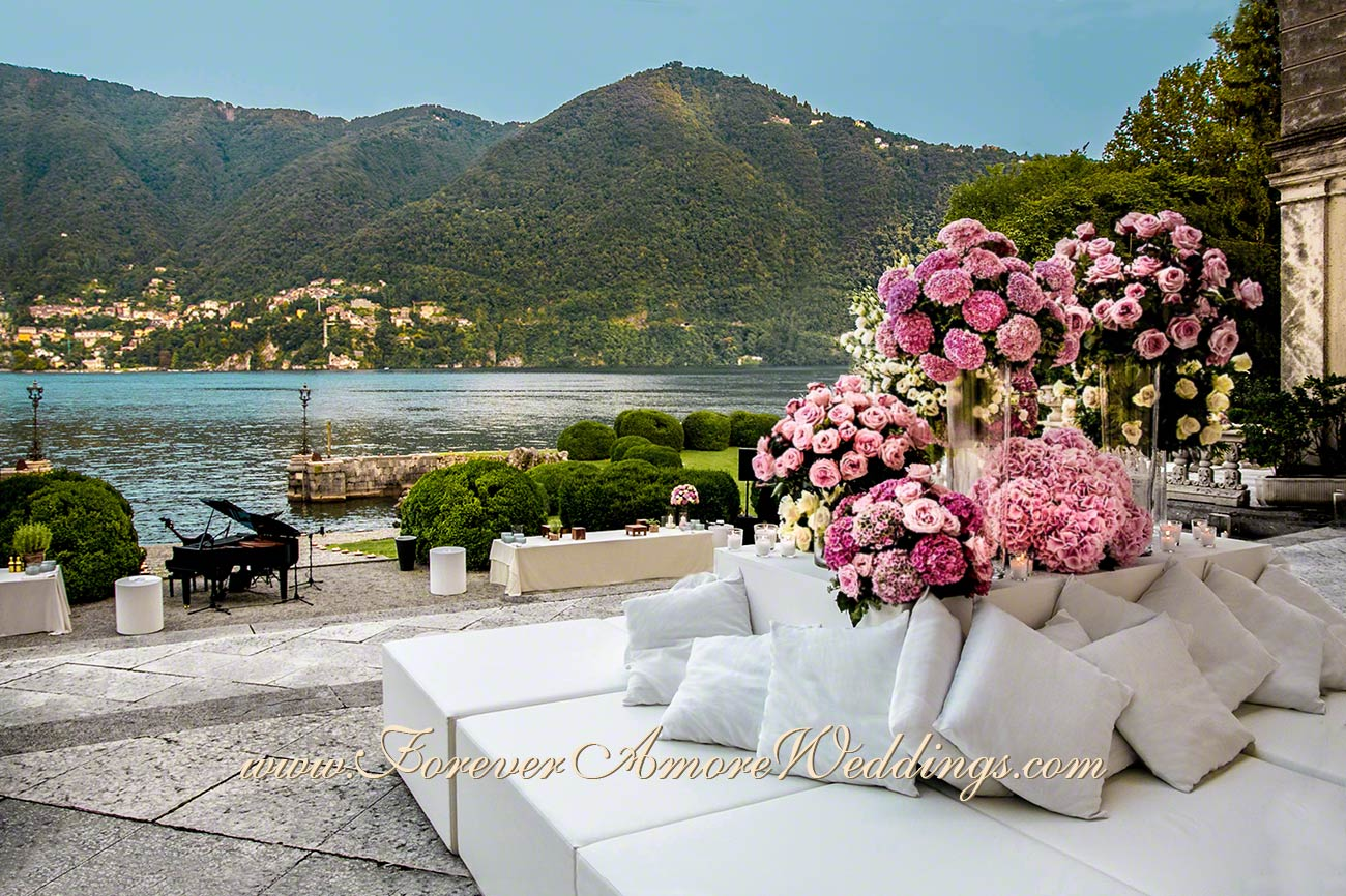 luxury wedding flowers at villa erba lake como