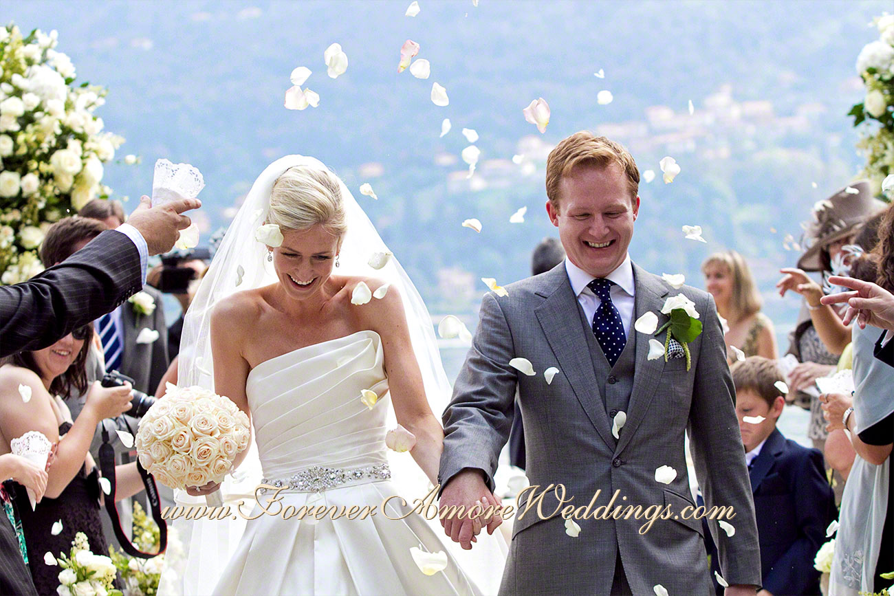 happy couple just married at villa carlotta lake como