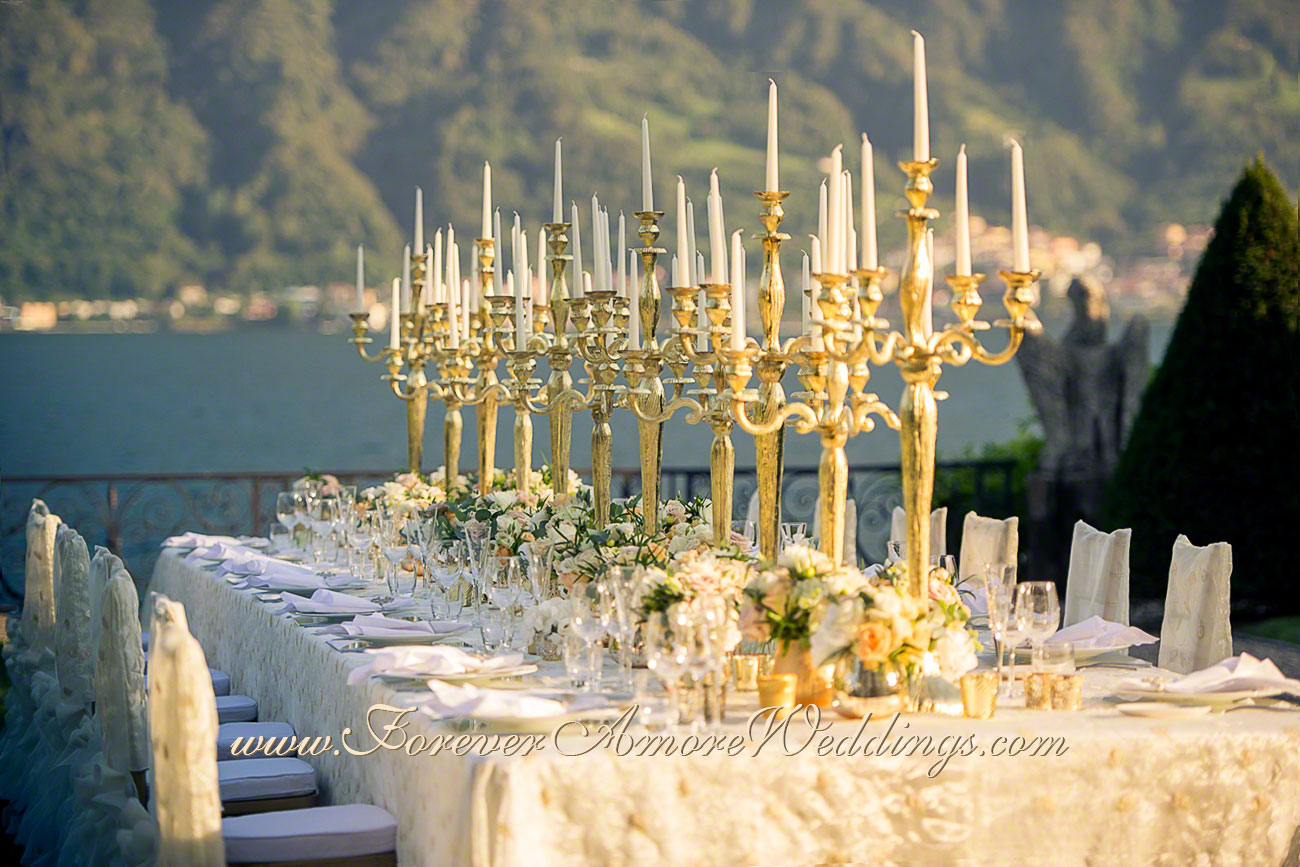 golden imperial table at villa balbiano lake como