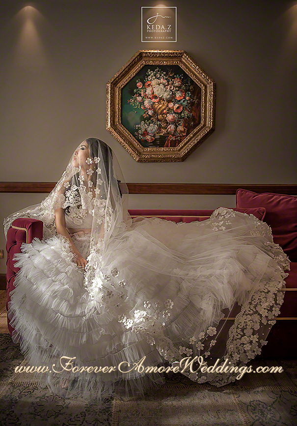 gorgeous bride at grand hotel tremezzo with veil