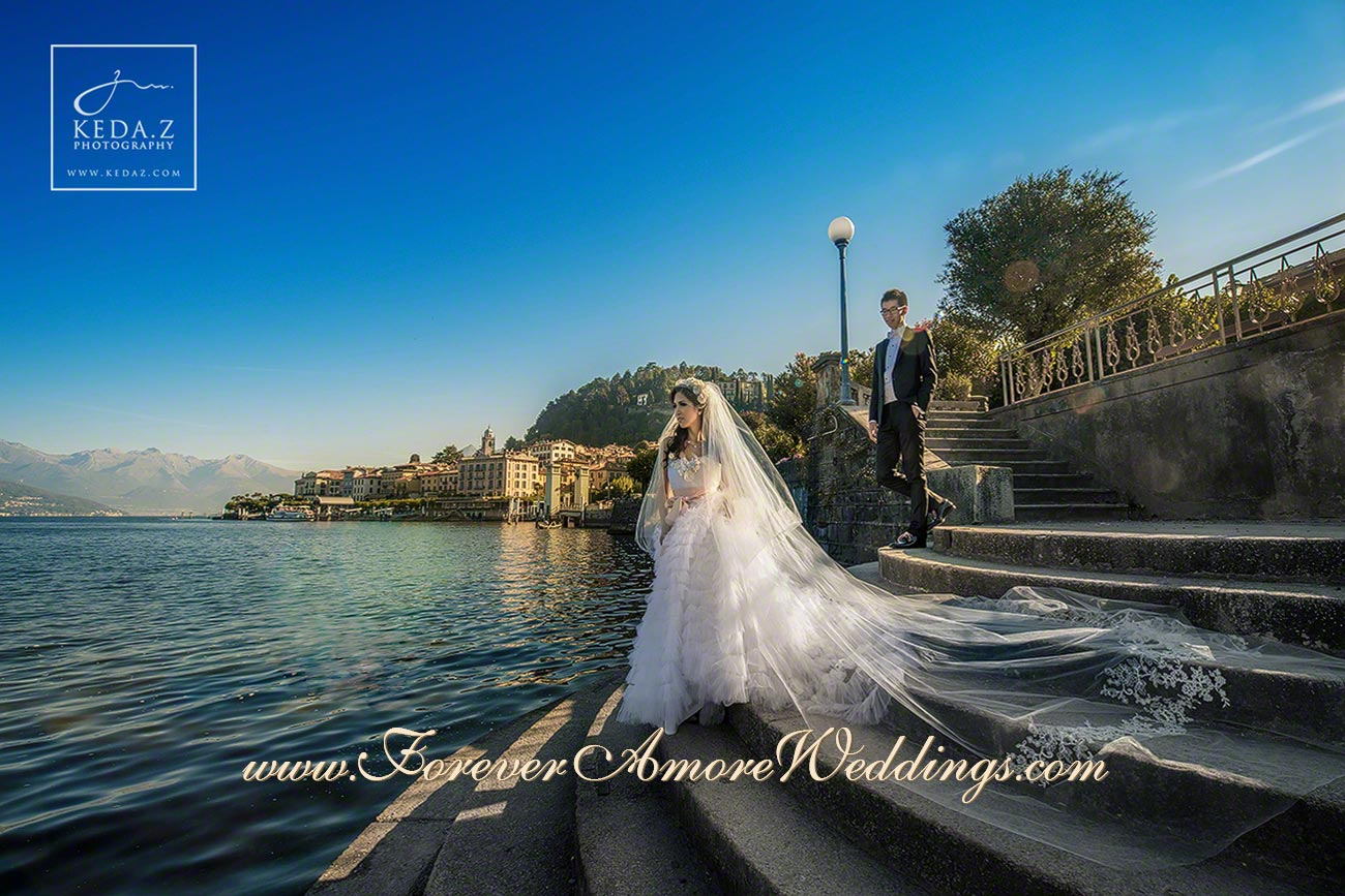 bridal couple posing in Bellagio lake Como