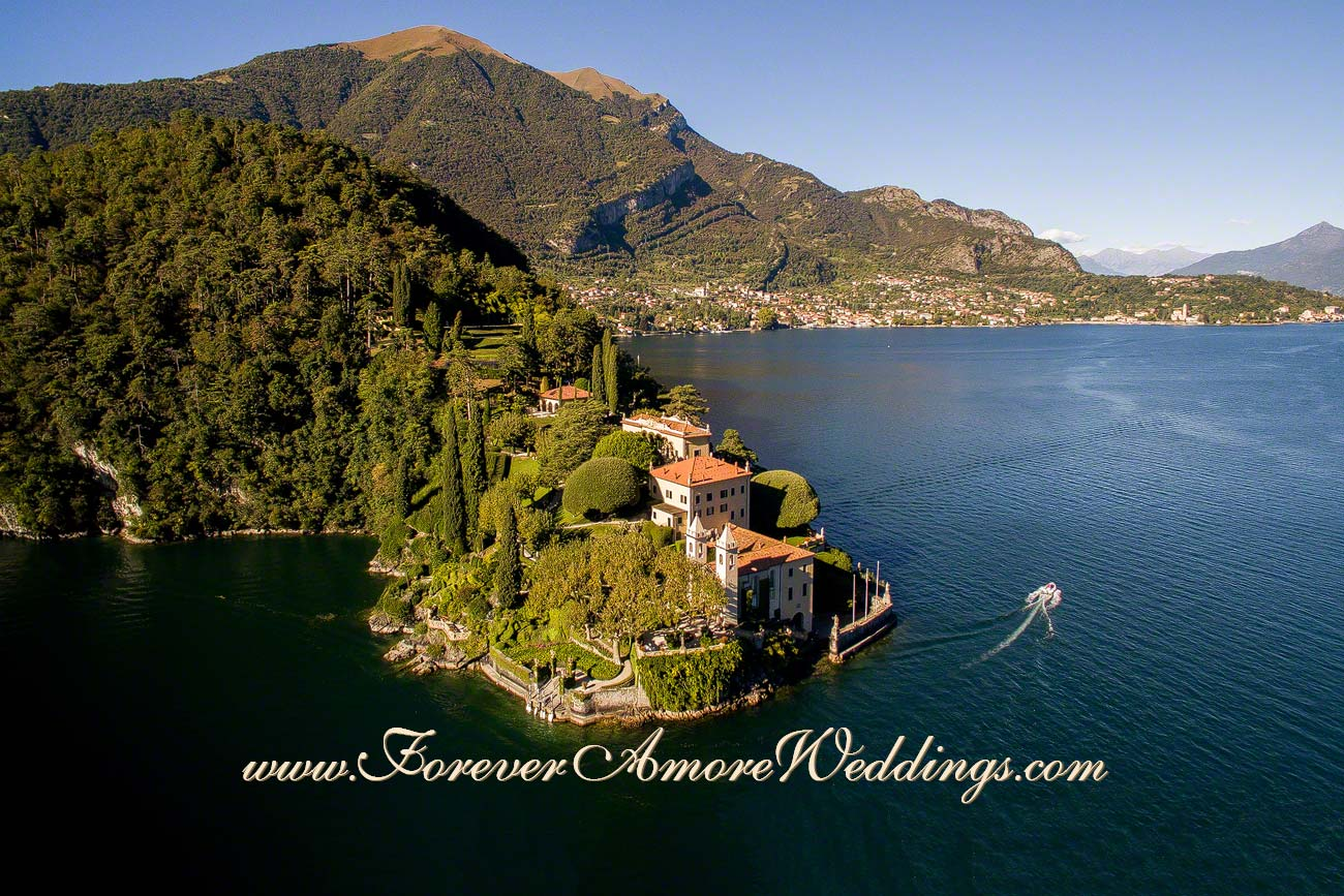 drone overview of Villa Balbianello