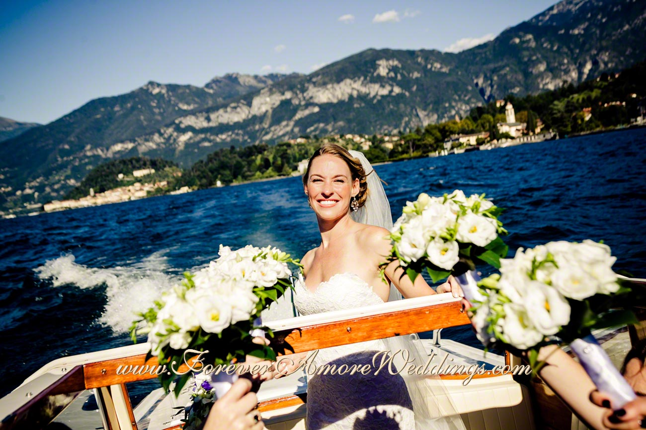 smiling bride on the boat at lake Como