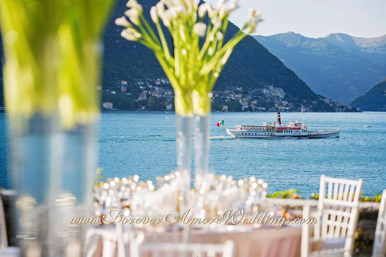 beautiful lake Como wedding decoration