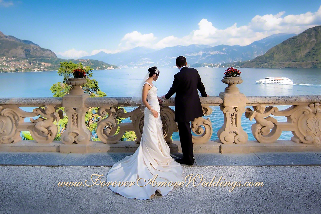 villa Balbianello bride and groom looking at the lake