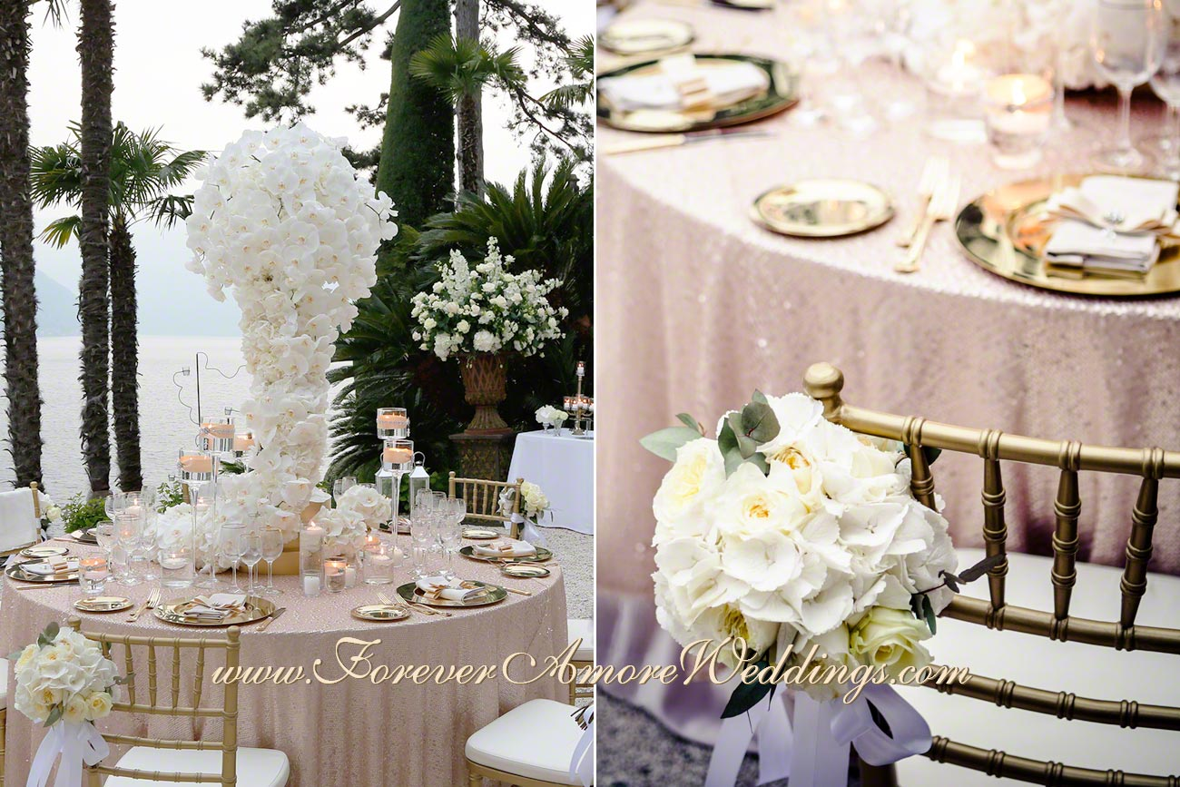 white and gold wedding decoration at villa Balbianello