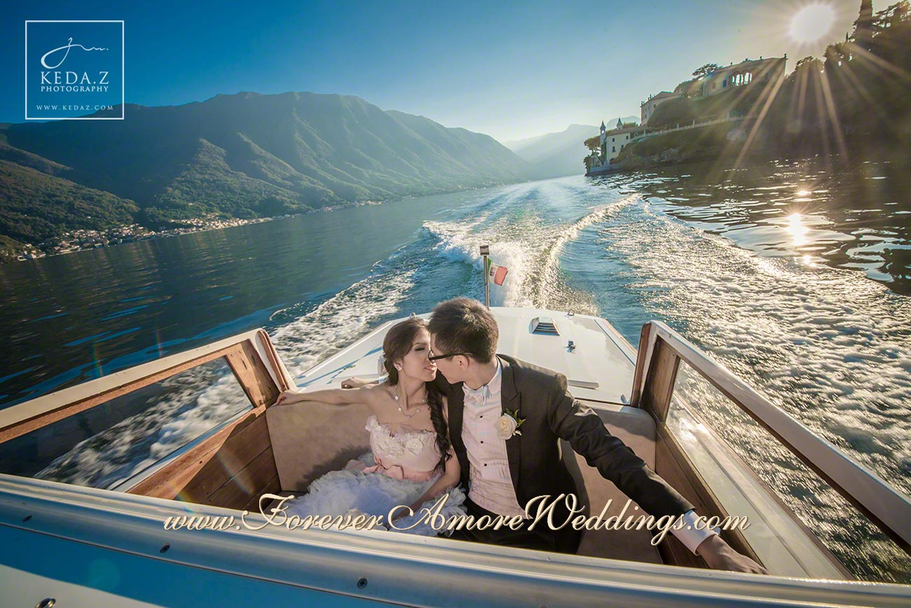 bride and groom on water taxi during photoshooting