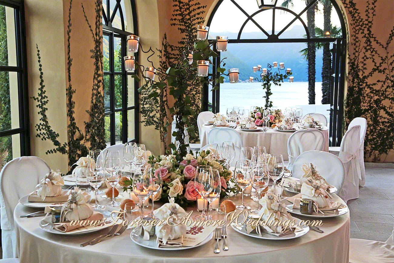 romantic wedding reception at villa Balbianello