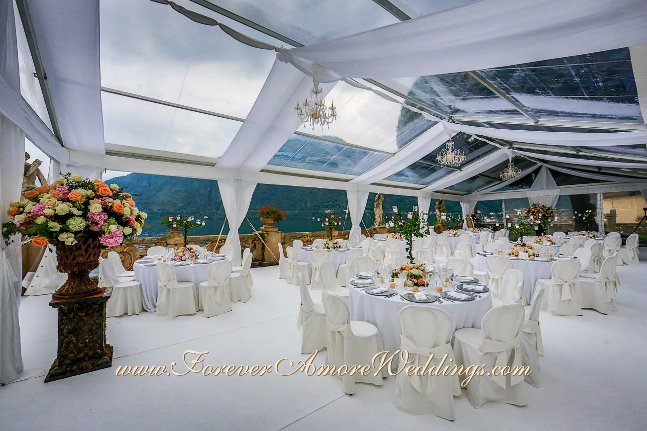 wedding reception with crystal marquee at villa Balbianello