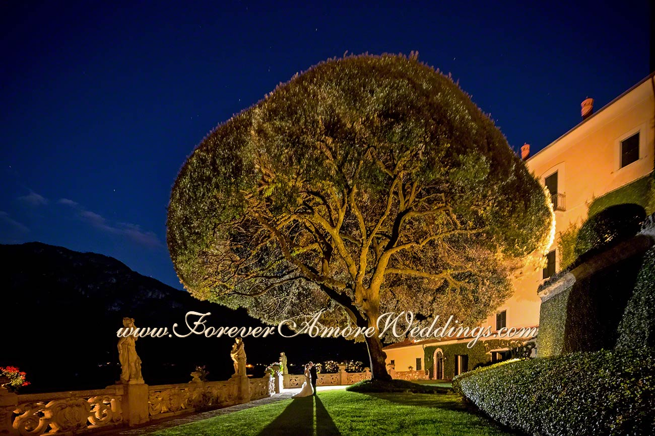 giant tree of villa Balbianello at night with couple kissing