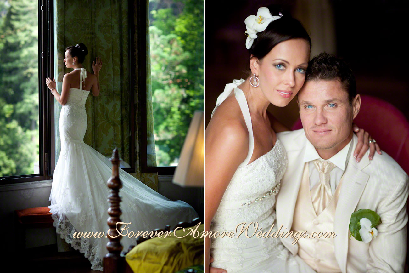 elegant bride and groom at Casta Diva Lake Como