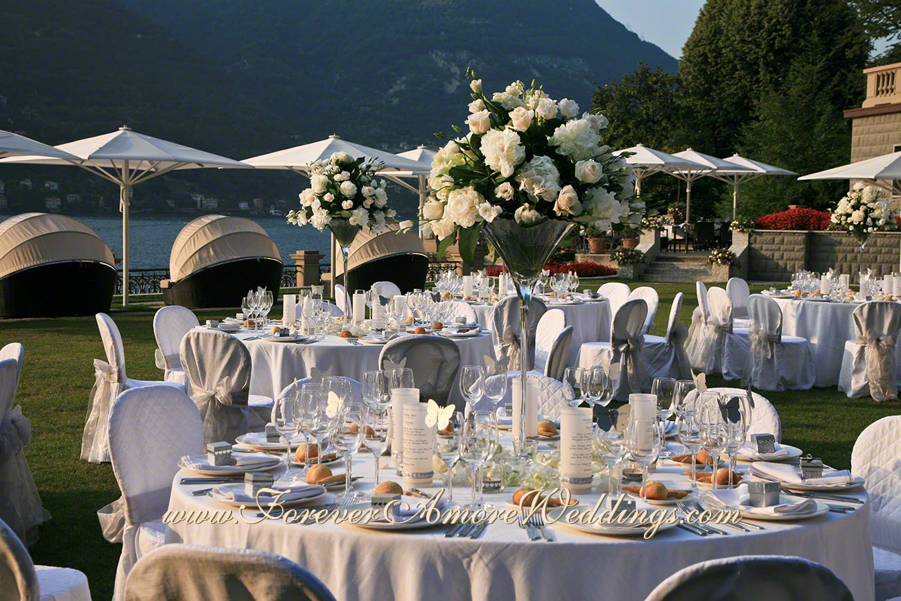 white centerpiece for wedding reception at Lake Como