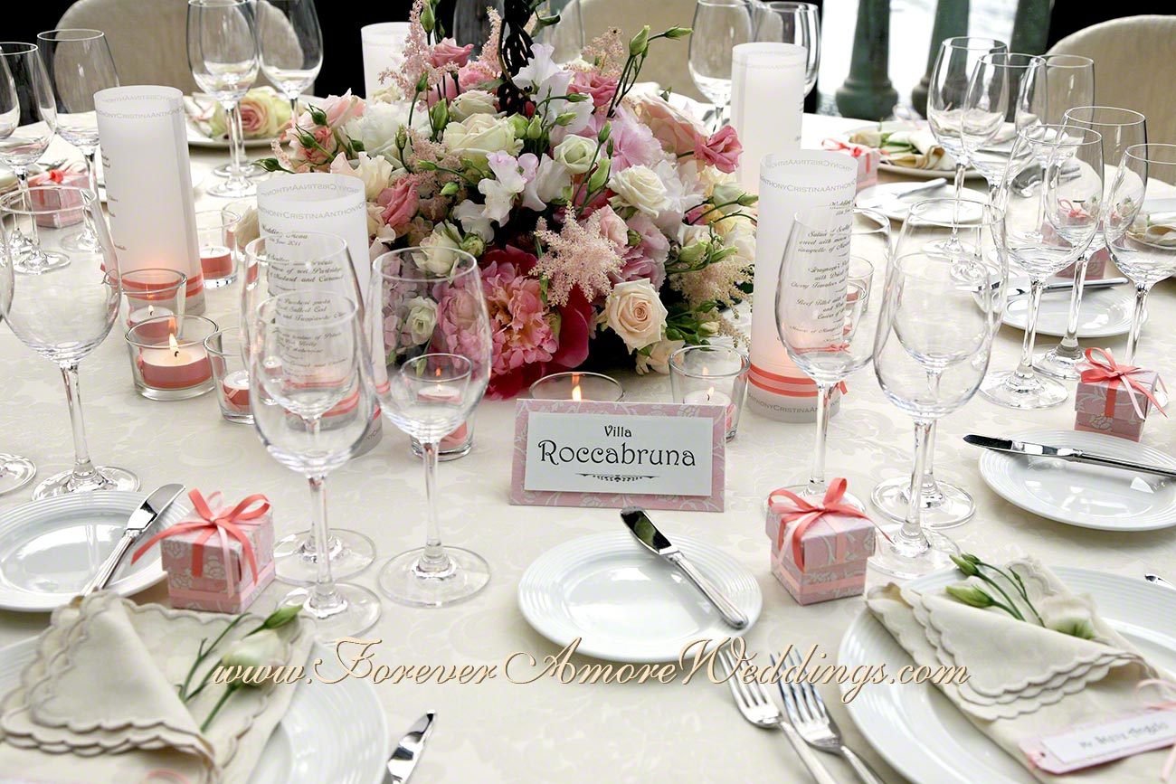 detail of pink flower centerpiece
