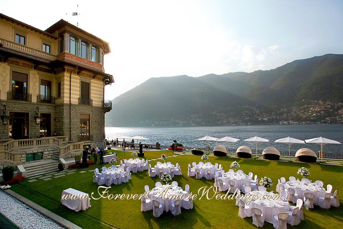 white wedding reception at Casta Diva
