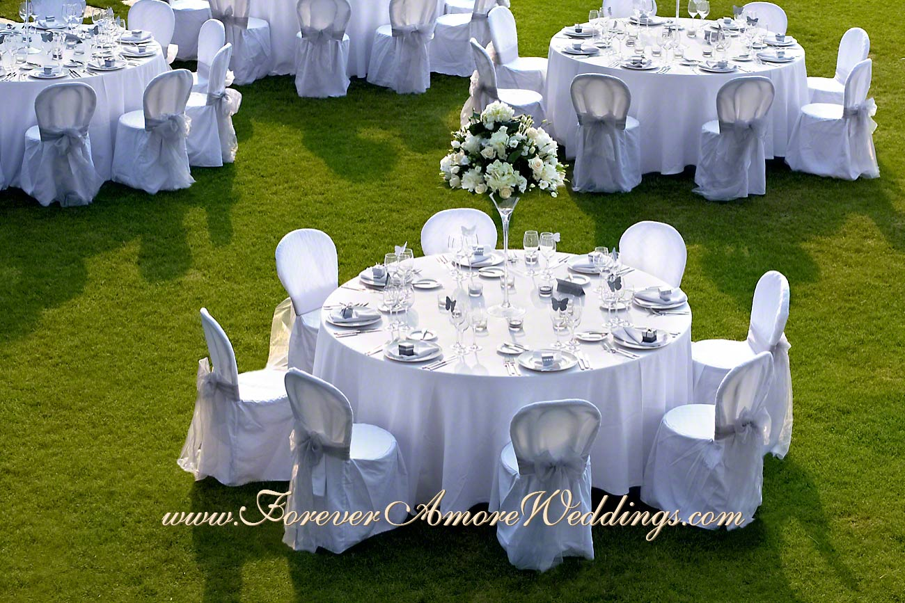 detail of white wedding reception at Casta Diva
