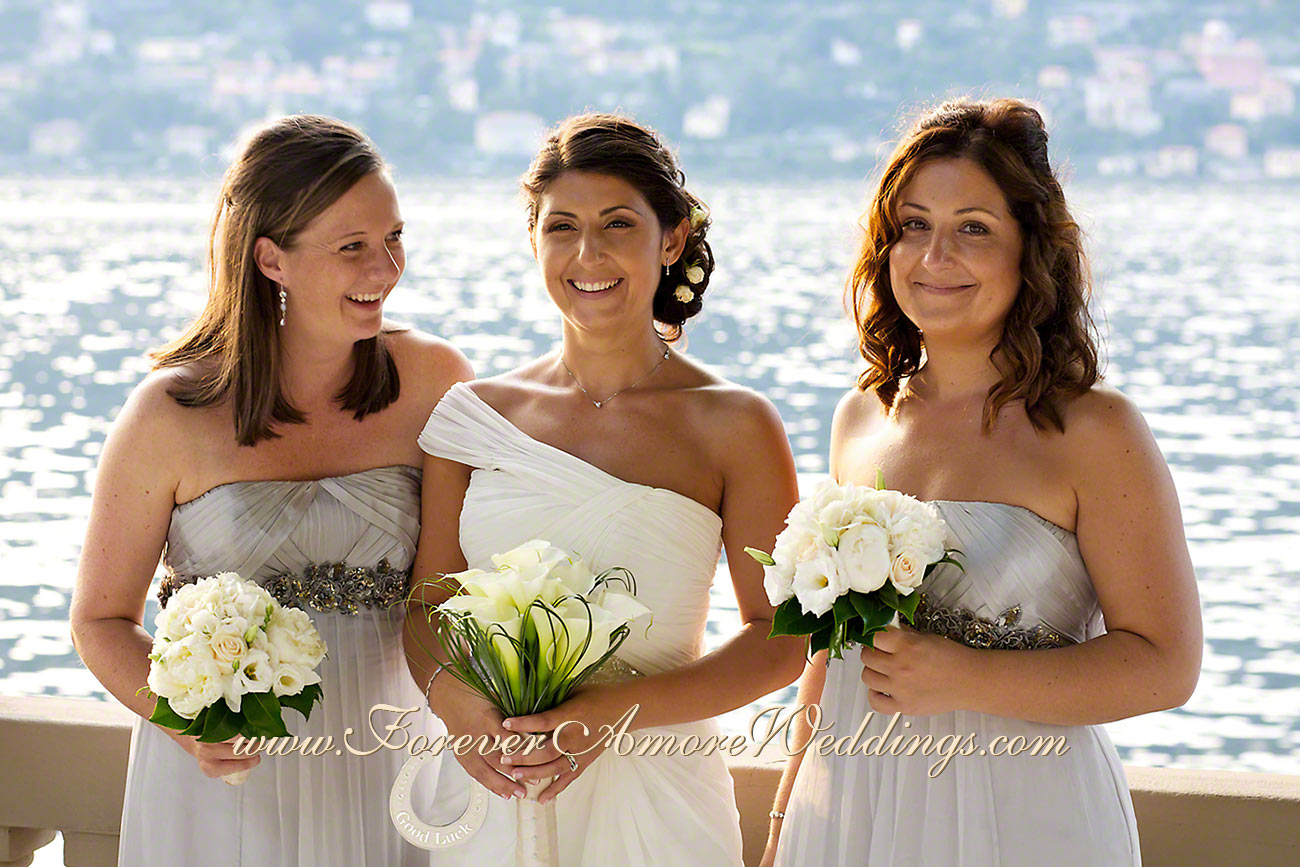 bride and bridesmaids destination wedding at Lake Como