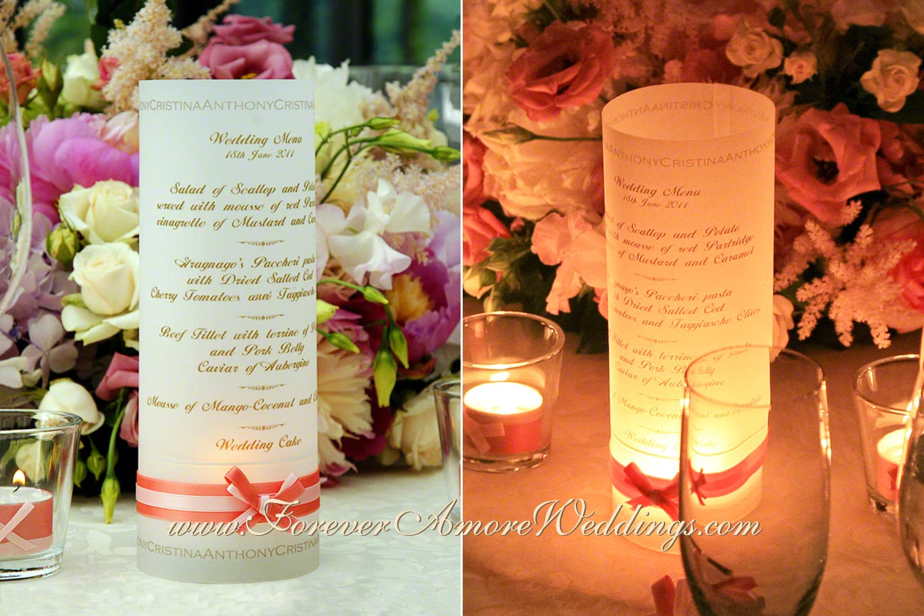 candle wedding menu at Lake Como Italy