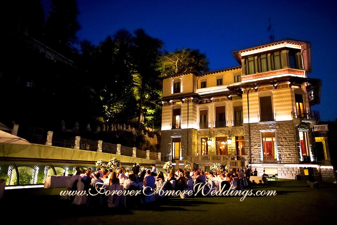 night overview of wedding reception at Casta Diva