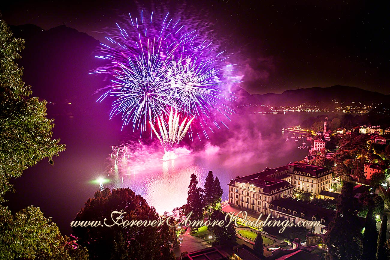 fireworks at Villa D'Este lake Como