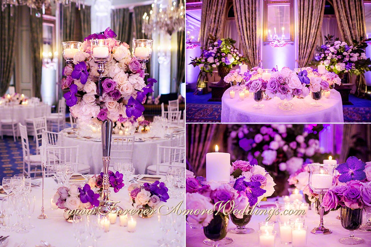 purple wedding reception decoration at Villa D'Este