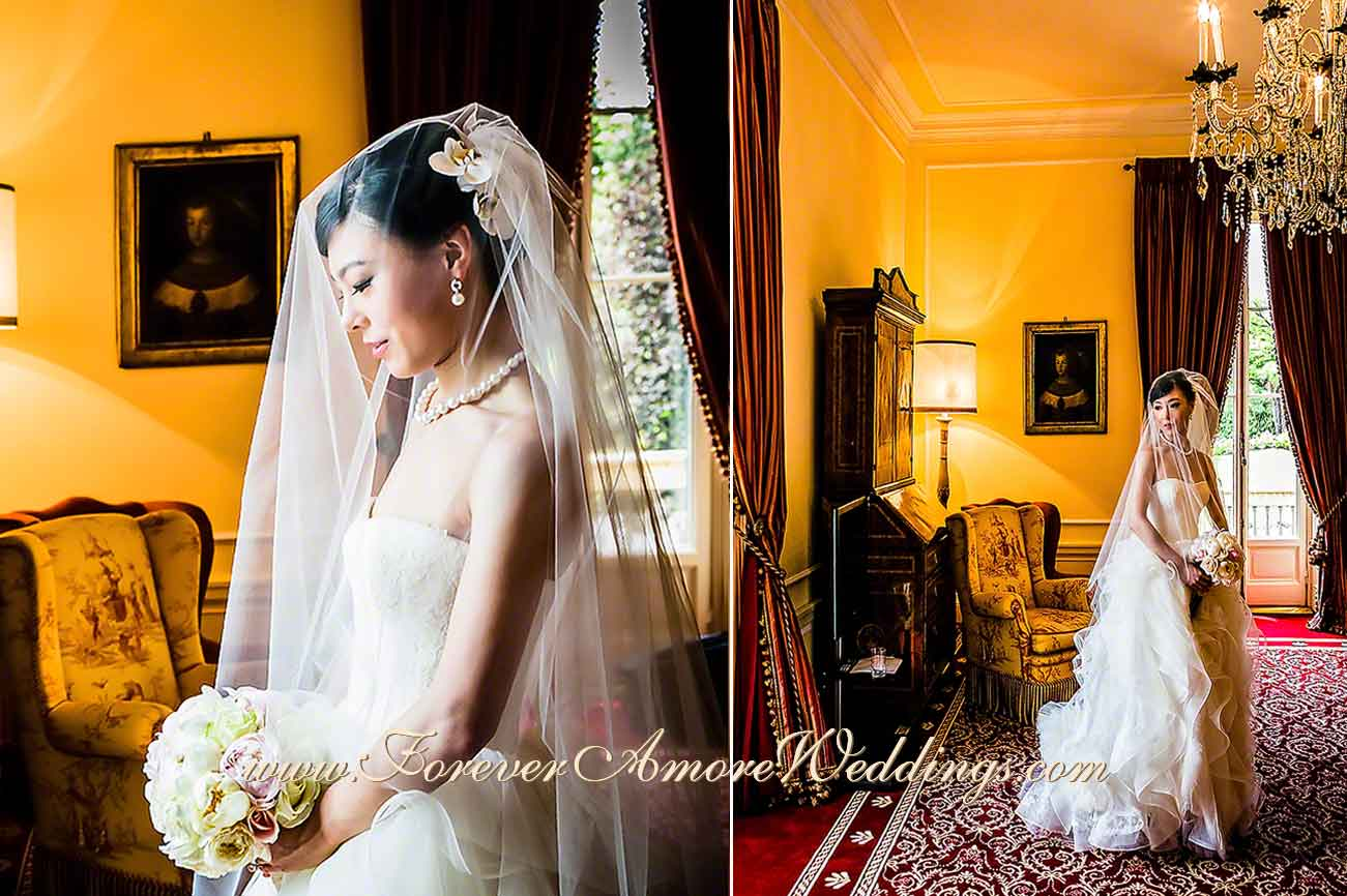 beautiful asian bride in Villa D'Este presidential suite