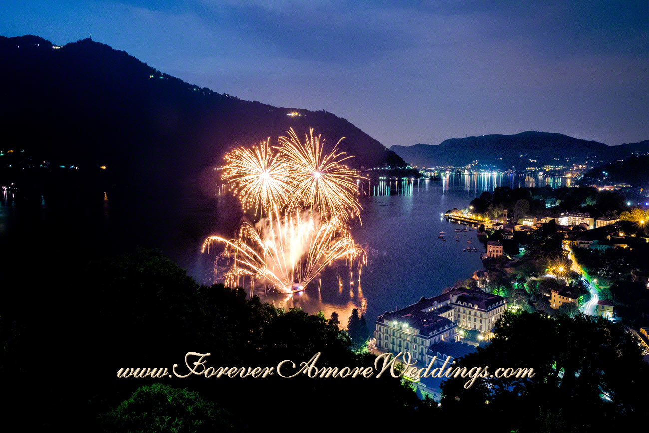 splendid wedding fireworks at Villa D'Este lake Como