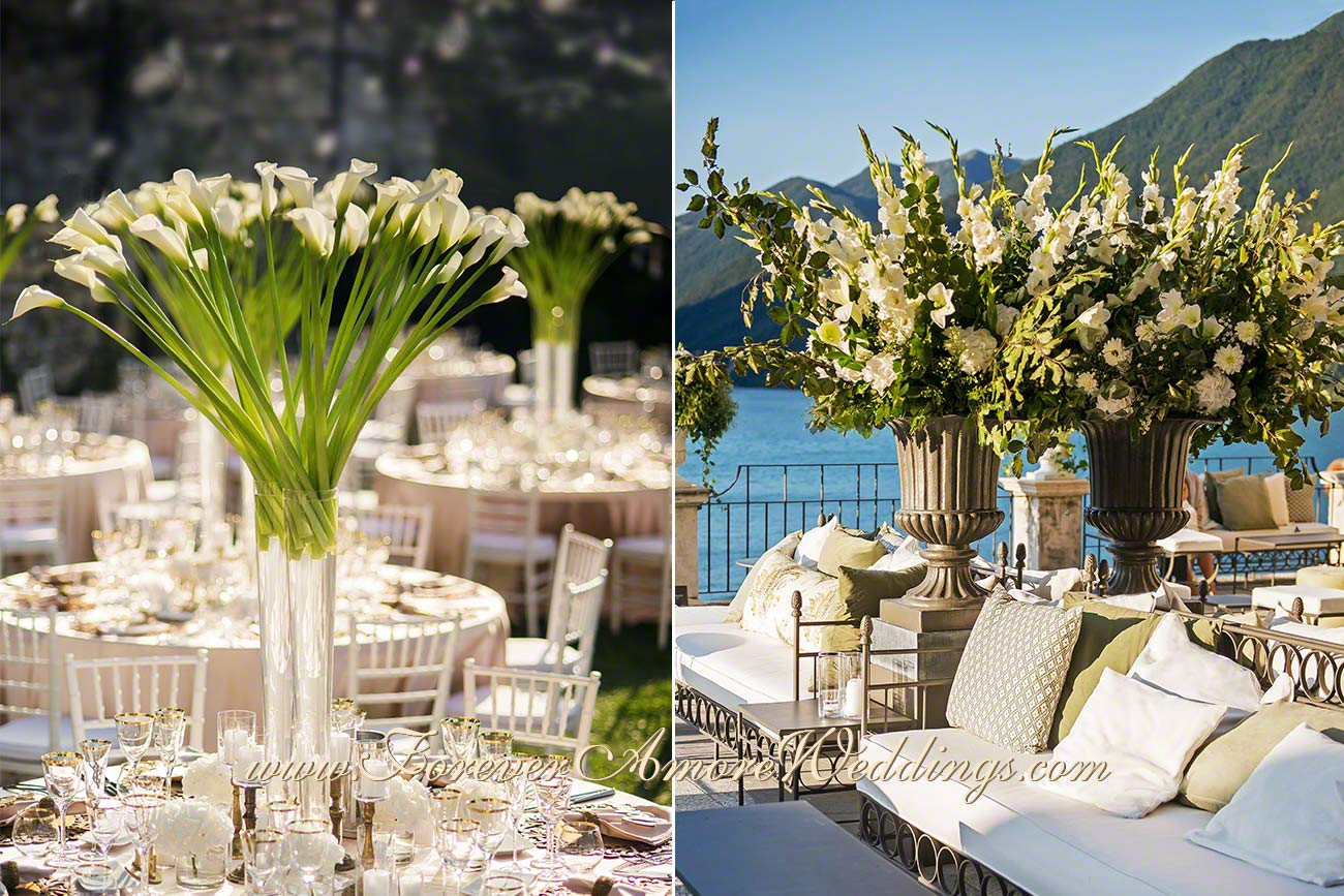 white and gold wedding decoration at Villa Pliniana