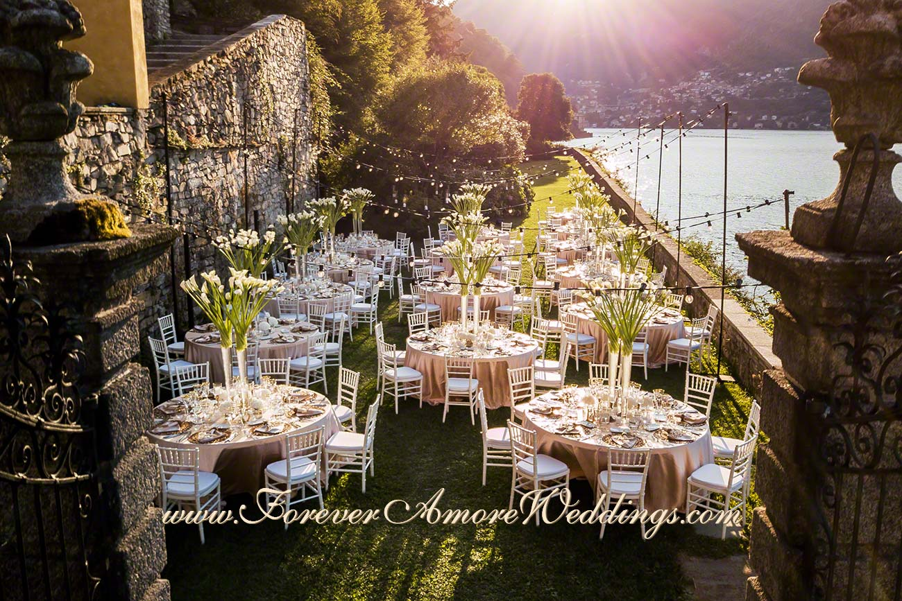 garden wedding reception at Villa Pliniana