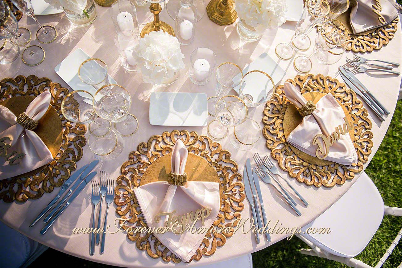 white and gold wedding decor details